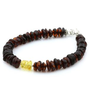 NATURAL BALTIC AMBER WOOD TURQUOISE 925 STERLING SILVER BRACELET. SPT100