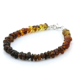 NATURAL BALTIC AMBER 925 STERLING SILVER BRACELET. SPT37