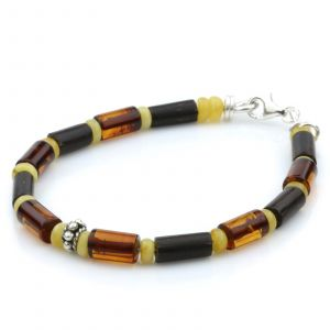 NATURAL BALTIC AMBER WOOD 925 STERLING SILVER BRACELET. SPT74
