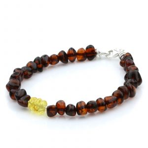 NATURAL BALTIC AMBER 925 STERLING SILVER BRACELET. SPT76