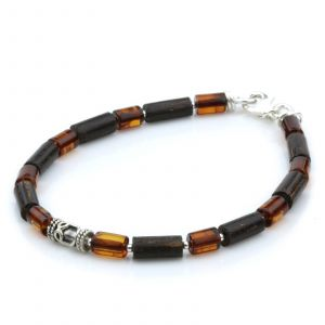 NATURAL BALTIC AMBER WOOD 925 STERLING SILVER BRACELET. SPT78