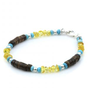 NATURAL BALTIC AMBER WOOD TURQUOISE 925 STERLING SILVER BRACELET. SPT79