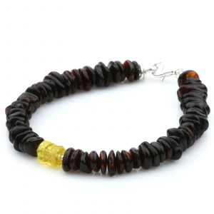 NATURAL BALTIC AMBER 925 STERLING SILVER BRACELET. SPT90