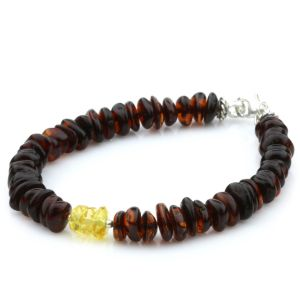 NATURAL BALTIC AMBER 925 STERLING SILVER BRACELET. SPT93