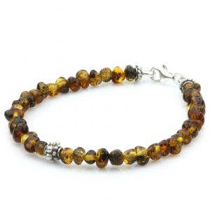 NATURAL BALTIC AMBER 925 STERLING SILVER BRACELET. SPT95