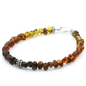 NATURAL BALTIC AMBER 925 STERLING SILVER BRACELET. SPT97