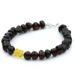 NATURAL BALTIC AMBER 925 STERLING SILVER BRACELET. SPT98