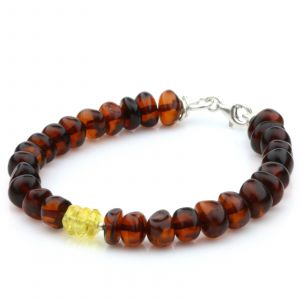 NATURAL BALTIC AMBER 925 STERLING SILVER BRACELET. SPT99