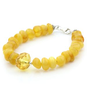 Adult Baltic Amber 925 Sterling Silver Bracelet. OCT76