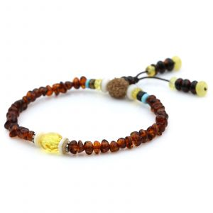 Adult Baltic Amber Shell Turquoise 925 Sterling Silver Bracelet. OCT80