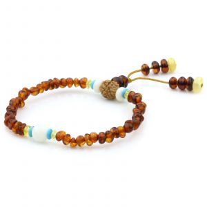 Adult Baltic Amber Shell Turquoise 925 Sterling Silver Bracelet. OCT81