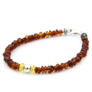 Adult Baltic Amber Sheel 925 Sterling Silver Bracelet. OCT86
