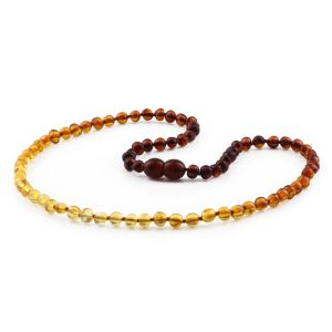 ADULT BALTIC AMBER NECKLACE. BAROQUE RAINBOW II C 5X4 MM