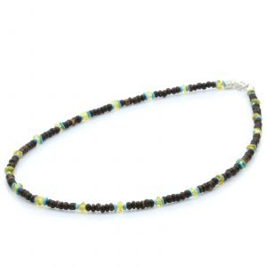 ADULT BALTIC AMBER WOOD TURQUOISE 925 STERLING SILVER NECKLACE. SPT07