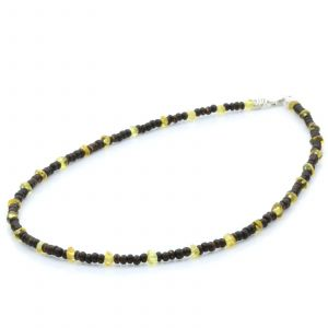 ADULT BALTIC AMBER WOOD 925 STERLING SILVER NECKLACE. SPT08