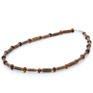 ADULT BALTIC AMBER WOOD 925 STERLING SILVER NECKLACE. SPT24
