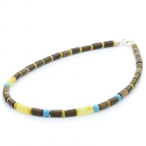 ADULT BALTIC AMBER WOOD TURQUOISE 925 STERLING SILVER NECKLACE. SPT47