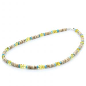 ADULT BALTIC AMBER SHELL TURQUOISE 925 STERLING SILVER NECKLACE. SPT80