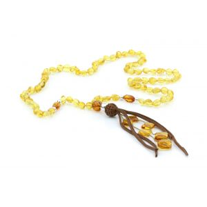 NATURAL BALTIC AMBER TASSEL NECKLACE. TASSEL14