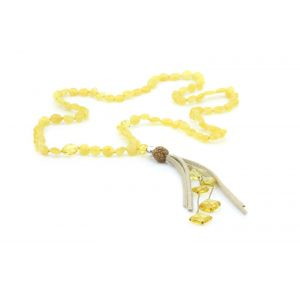 NATURAL BALTIC AMBER TASSEL NECKLACE. TASSEL17