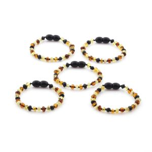 BALTIC AMBER BRACELET FOR KIDS WHOLESALE LOT OF 5PCS. BAROQUE. XB43M2