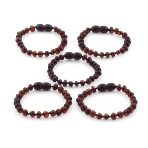 BALTIC AMBER BRACELET FOR KIDS WHOLESALE LOT OF 5PCS. BAROQUE. XB54DC
