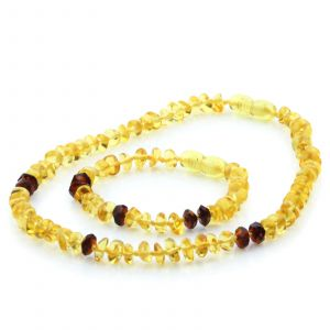 Baltic Amber Teething Necklace Bracelet Set