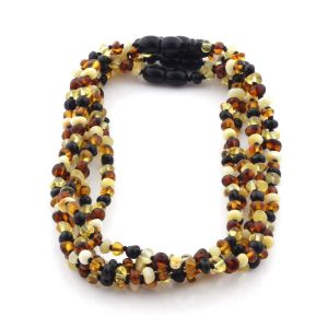 BALTIC AMBER NECKLACES FOR KIDS WHOLESALE LOT OF 5PCS.BAROQUE. XB43M2