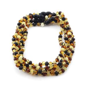 BALTIC AMBER NECKLACES FOR KIDS WHOLESALE LOT OF 5PCS. BAROQUE. XB54M2