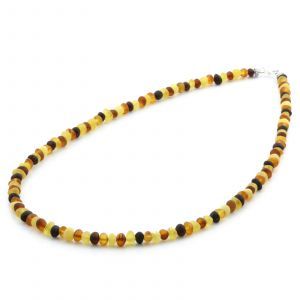 Adult Baltic Amber & 925 Sterling Silver Clasp Necklace 45cm. Ba Multicolor Matte s.