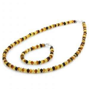 Adult Baltic Amber & 925 Sterling Silver Clasp Necklace & Bracelet Set. Ba Multicolor Matte s.