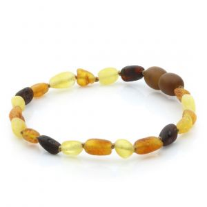 Adult Raw Baltic Amber Bracelet. Olive Multicolor Rough Cl 5x4 mm