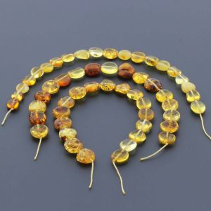 Natural Baltic Amber Loose Beads Strings Set of 3pcs. 20gr. ST682
