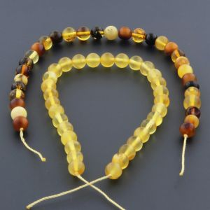 "Natural Baltic Amber Loose Beads Strings Set of 2 Pcs. 20cm / 7.87"" - Round. ST464"