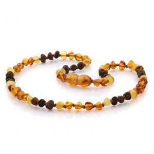 Natural Baltic Amber Teething Necklace. Baroque LE73