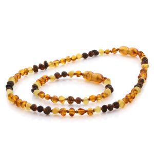 Natural Baltic Amber Teething Necklace & Bracelet Set. Baroque LE73