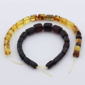 Natural Baltic Amber Loose Beads Strings Set of 2pcs. 21gr. ST1039