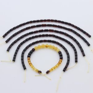 Natural Baltic Amber Loose Beads Strings Set of 6pcs. 19gr. ST1041