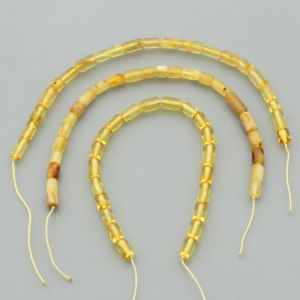 "Natural Baltic Amber Loose Beads Strings Set of 3 Pcs. 20cm / 7.87"" - Cylinder.  ST358"