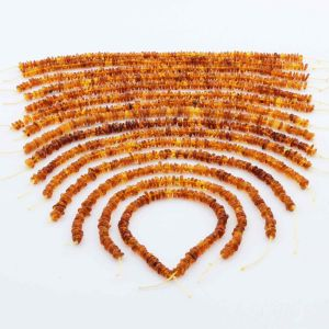 Natural Baltic Amber Loose Beads Strings Set of 15pcs. 62.91gr. ST1349