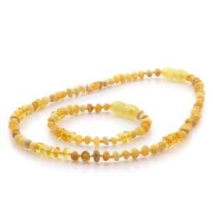 Natural Baltic Amber Teething Necklace & Bracelet Set. Baroque LE76