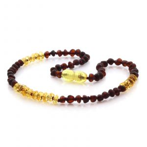 Natural Baltic Amber Teething Necklace. Baroque LE77