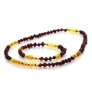 Natural Baltic Amber Teething Necklace & Bracelet Set. Baroque LE77