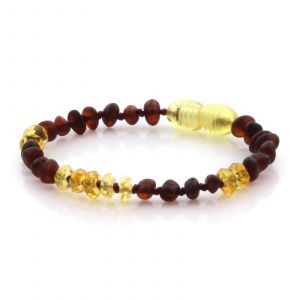 Natural Baltic Amber Teething Bracelet. Baroque LE77