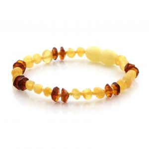 Natural Baltic Amber Teething Bracelet. Baroque LE78