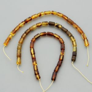 "Natural Baltic Amber Loose Beads Strings Set of 3 Pcs. 20cm / 7.87"" - Cylinder.  ST369"
