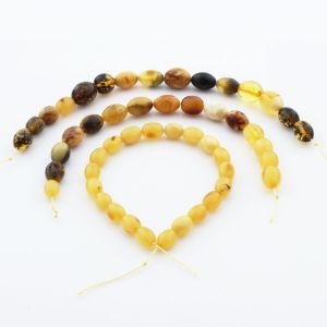 Natural Baltic Amber Loose Beads Strings Set of 3pcs. 23gr. ST1289