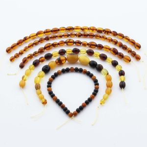 Natural Baltic Amber Loose Beads Strings Set of 6pcs. 36.6gr. ST1290