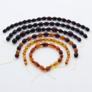 Natural Baltic Amber Loose Beads Strings Set of 6pcs. 43.7gr. ST1292