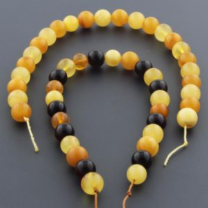 "Natural Baltic Amber Loose Beads Strings Set of 2 Pcs. 20cm / 7.87"" - Round. ST509"